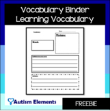 Vocabulary Binder