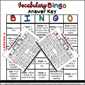 Vocabulary Bingo Aligned to REWARDS Intermediate (Lesson 1)