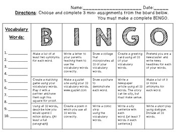 Vocabulary Bingo Assignment