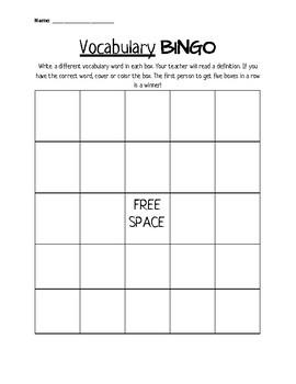 Vocabulary Bingo Board