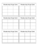 Vocabulary Bingo Card