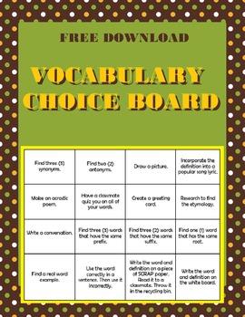 Vocabulary Bingo Choice Board