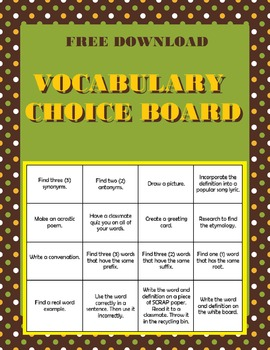 Vocabulary Bingo Choice Board- FREE