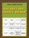 Vocabulary Bingo Choice Board- FREE