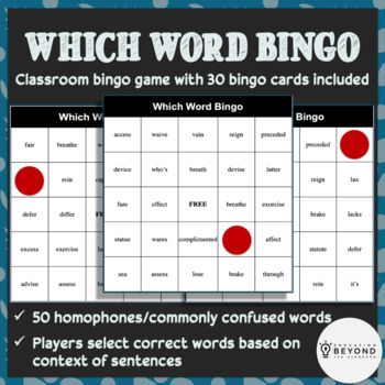 Vocabulary Bingo -- Homophones & Frequently Confused Words -- Grades 4-8, Game 2
