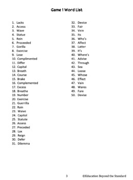 Vocabulary Bingo -- Homophones & Frequently Confused Words -- Grades 8+, Game 4