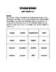 Vocabulary Bingo Reading Wonders Grade 3 Unit 1 Week 1&2