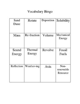 Science  Vocabulary Bingo Game