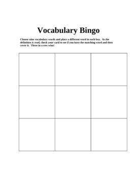 Vocabulary Bingo Sheet