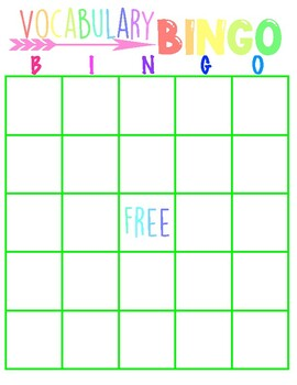 Vocabulary Bingo in Color