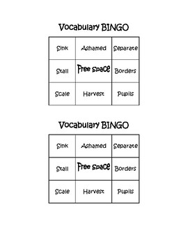 Vocabulary Bingo_Harvest Birds