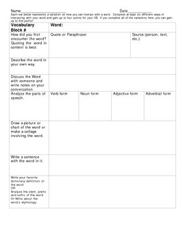 Vocabulary Block Template