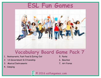 Vocabulary Board Game Pack 7 Game Bundle