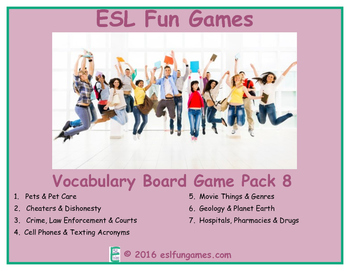 Vocabulary Board Game Pack 8 Game Bundle
