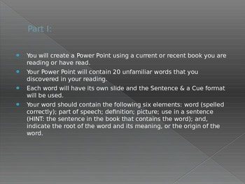 Vocabulary Book Report