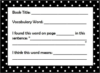 Vocabulary Booklet