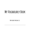 Vocabulary Booklet   NOT EDITABLE