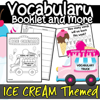 Vocabulary Booklet Posters Dictionary Learning  Ice Cream Theme