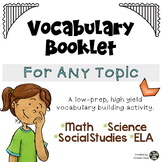 Vocabulary Booklet for Any Topic