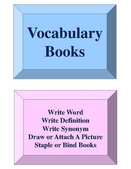 Vocabulary Books Activity