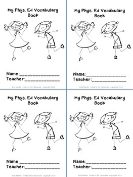 Vocabulary Books for Specialists (Music, Art, Library, and Physical Education)