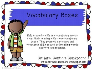 Vocabulary Boxes- Help Build Your Student's Knowledge of N
