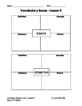 Vocabulary Boxes - Journeys, Grade 2, Lesson 4 - Diary of a Spider