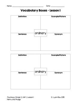 Vocabulary Boxes - Journeys, Grade 2, Unit 1 - BUNDLE