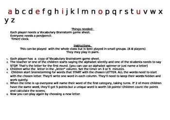 Vocabulary Brainstorm game