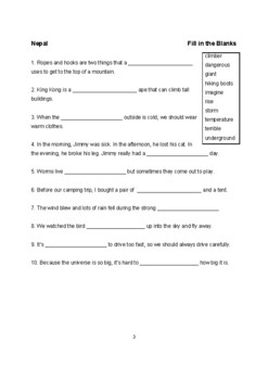Vocabulary Builder Fill in the Blanks worksheets Level 2