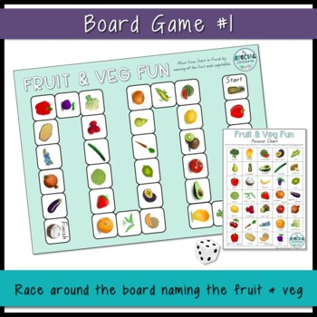 Vocabulary Builder- Fruit & Vegetable Games - Board games