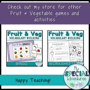 Vocabulary Builder- Fruit & Vegetable Topic Cards