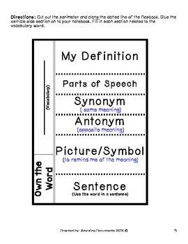 Vocabulary Builder: Interactive Notebook Flapbooks