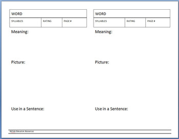 Vocabulary Builder Worksheet/Vocabulary Book Template