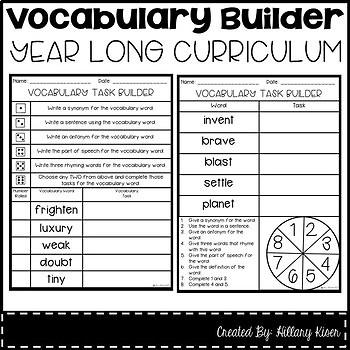 Vocabulary Builder (Year Long Curriculum-2nd Grade)