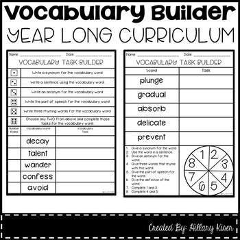 Vocabulary Builder (Year Long Curriculum-3rd Grade)