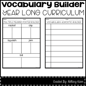 vocabulary builder year long curriculum 4th grade tpt