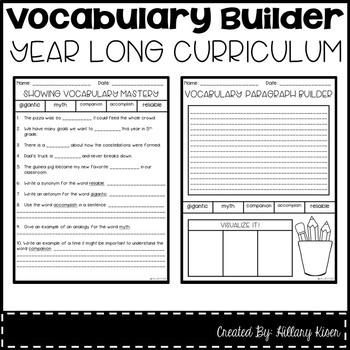 Vocabulary Builder (Year Long Curriculum-5th Grade)