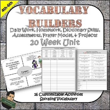 Vocabulary Unit Skills and Tests Included