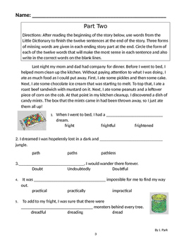 Vocabulary Building Lesson 12 Definitions to Apply to Story Context + Root Words