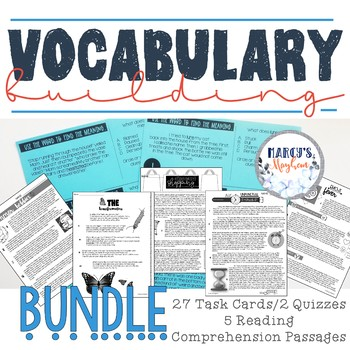 Vocabulary Building Activities using Reading Comprehension & Task Cards Bundle