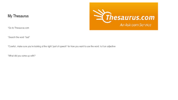 Vocabulary Building (Vocabulary Notebook)