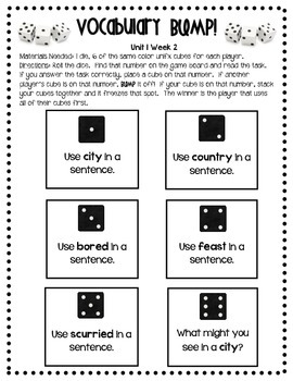 Vocabulary Bump for Wonders First Grade Stories