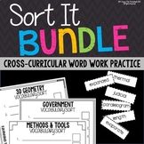 Science, Math, and Social Studies Vocabulary Word Work Activities Bundle