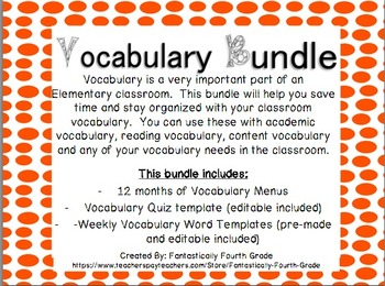 Vocabulary Bundle- Includes Editable!