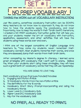 Vocabulary-Bundle-No Prep-10-15 Weeks of Instruction, Activities and Assessment