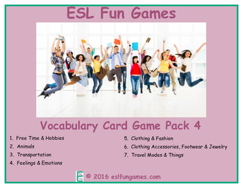 Vocabulary Card Games Pack 4 Game Bundle