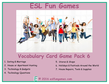 Vocabulary Card Games Pack 6 Game Bundle