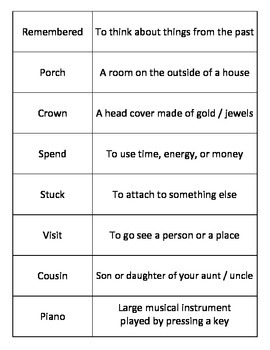 Vocabulary Card Match