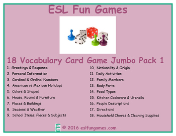 Vocabulary Card games Jumbo Pack 1 Game Bundle